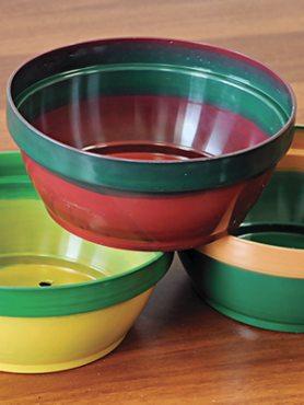 Горшок 1,2 л, красно-зеленый (1 шт)