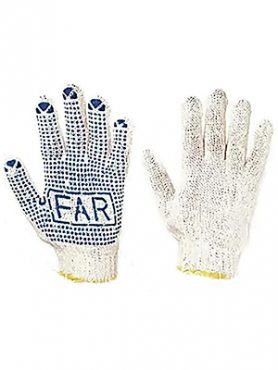 Перчатки рабочие х  б белая с пвх покрытием ФАР (1 шт)