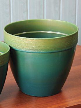 Горшок 3,7 л, зеленый с золотым ободком (1 шт)
